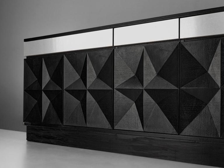 Large Belgian Sideboard in Black Oak and Metal Details 2