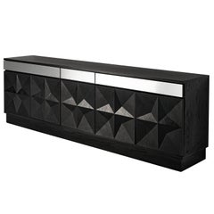 Large Belgian Sideboard in Black Oak and Metal Details