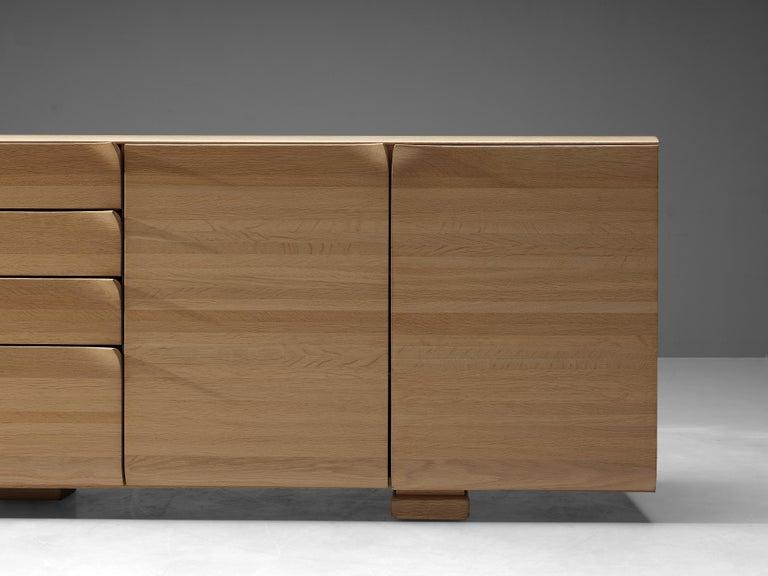 Mid-Century Modern Large Belgian Sideboard in Oak with Folded Handles For Sale