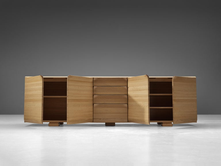 Large Belgian Sideboard in Oak with Folded Handles For Sale 1