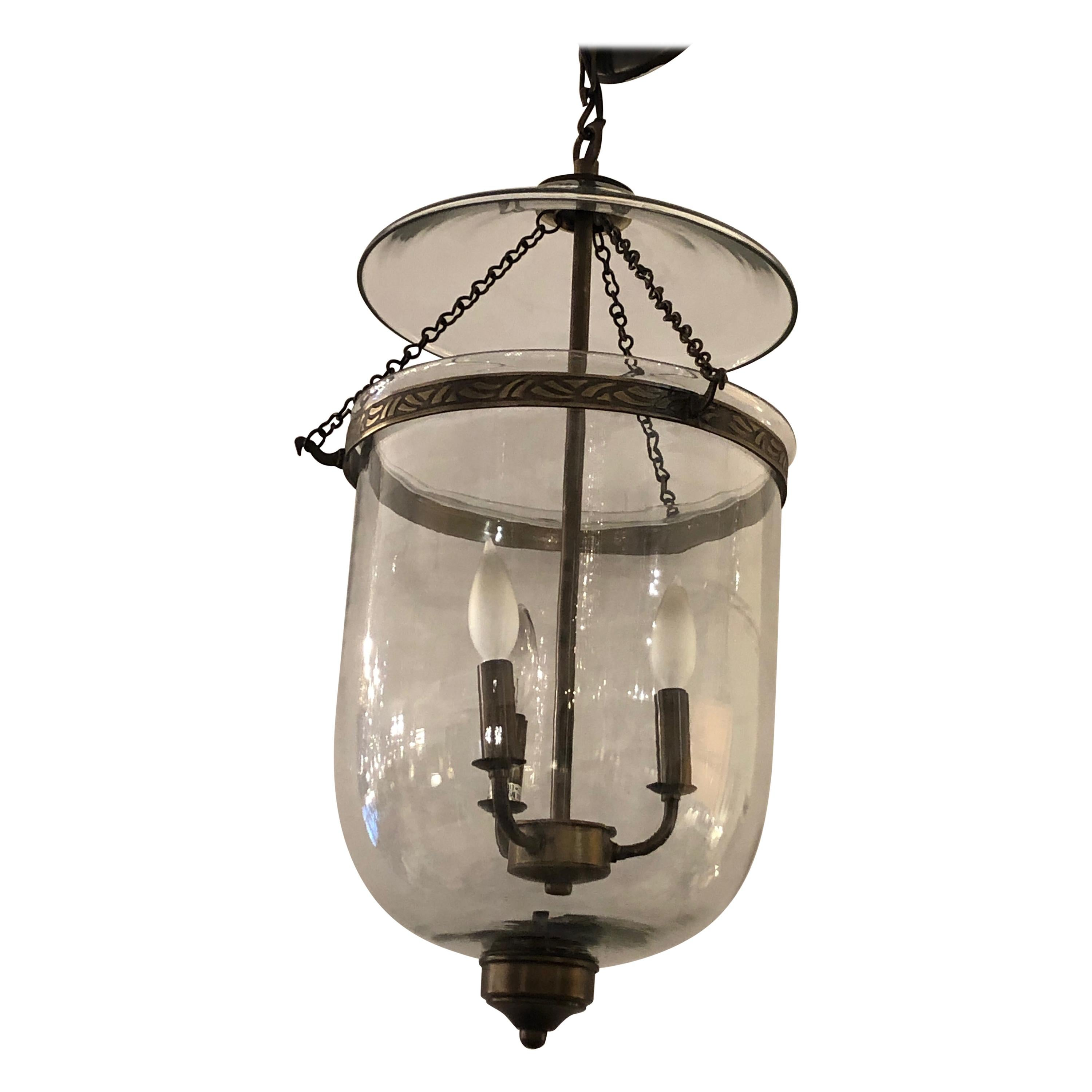 Large Bell Glass Lantern Chandelier Pendant with Bronze Finish