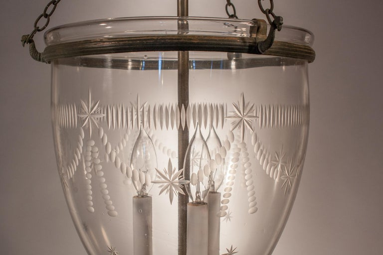 Large Bell Jar Lantern with Federal Etching In Excellent Condition For Sale In Shelburne Falls, MA