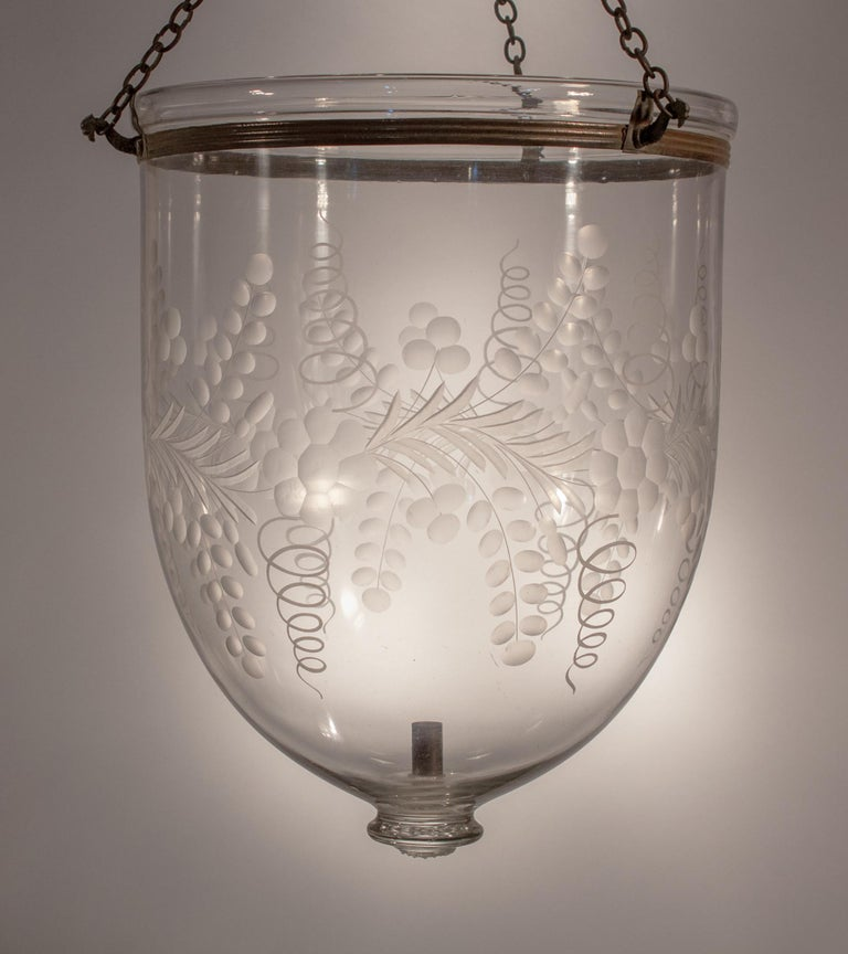 Antique Bell Jar Lantern with Floral Etching For Sale 6