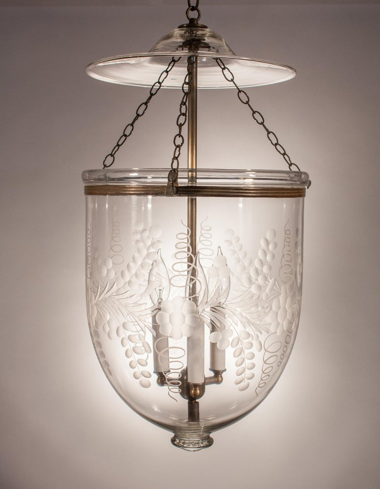 Unknown Antique Bell Jar Lantern with Floral Etching For Sale