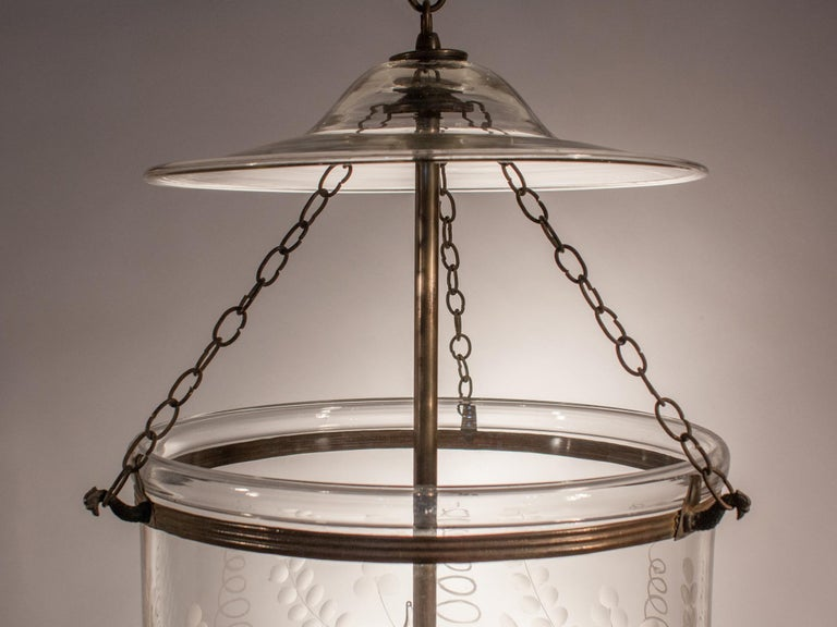 Antique Bell Jar Lantern with Floral Etching For Sale 3