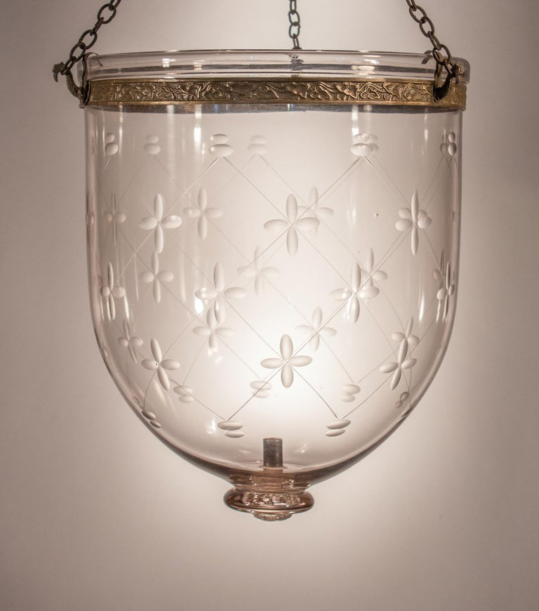 Large Bell Jar Lantern with Trellis Etching For Sale 2