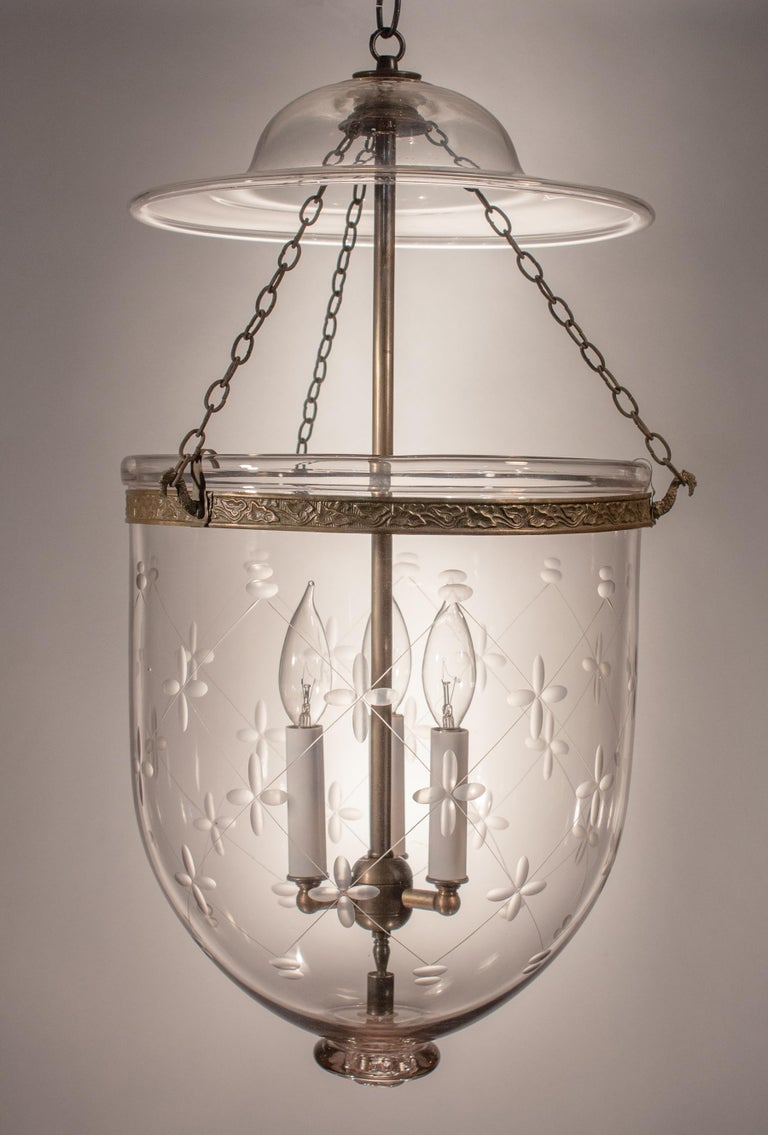 High Victorian Large Bell Jar Lantern with Trellis Etching For Sale