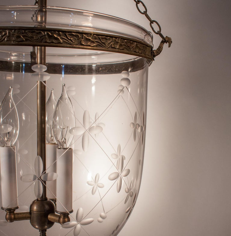Embossed Large Bell Jar Lantern with Trellis Etching For Sale