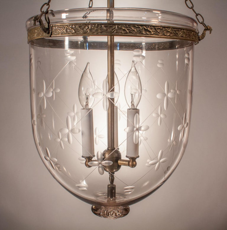 Large Bell Jar Lantern with Trellis Etching In Excellent Condition For Sale In Shelburne Falls, MA