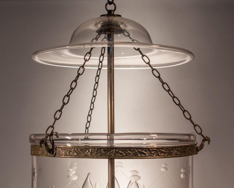 Brass Large Bell Jar Lantern with Trellis Etching For Sale