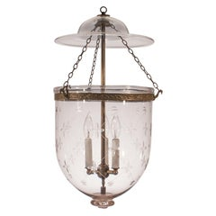 Large Bell Jar Lantern with Trellis Etching