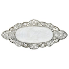 Large Belle Époque Diamond Carved Moonstone Platinum Ethereal Woman Brooch