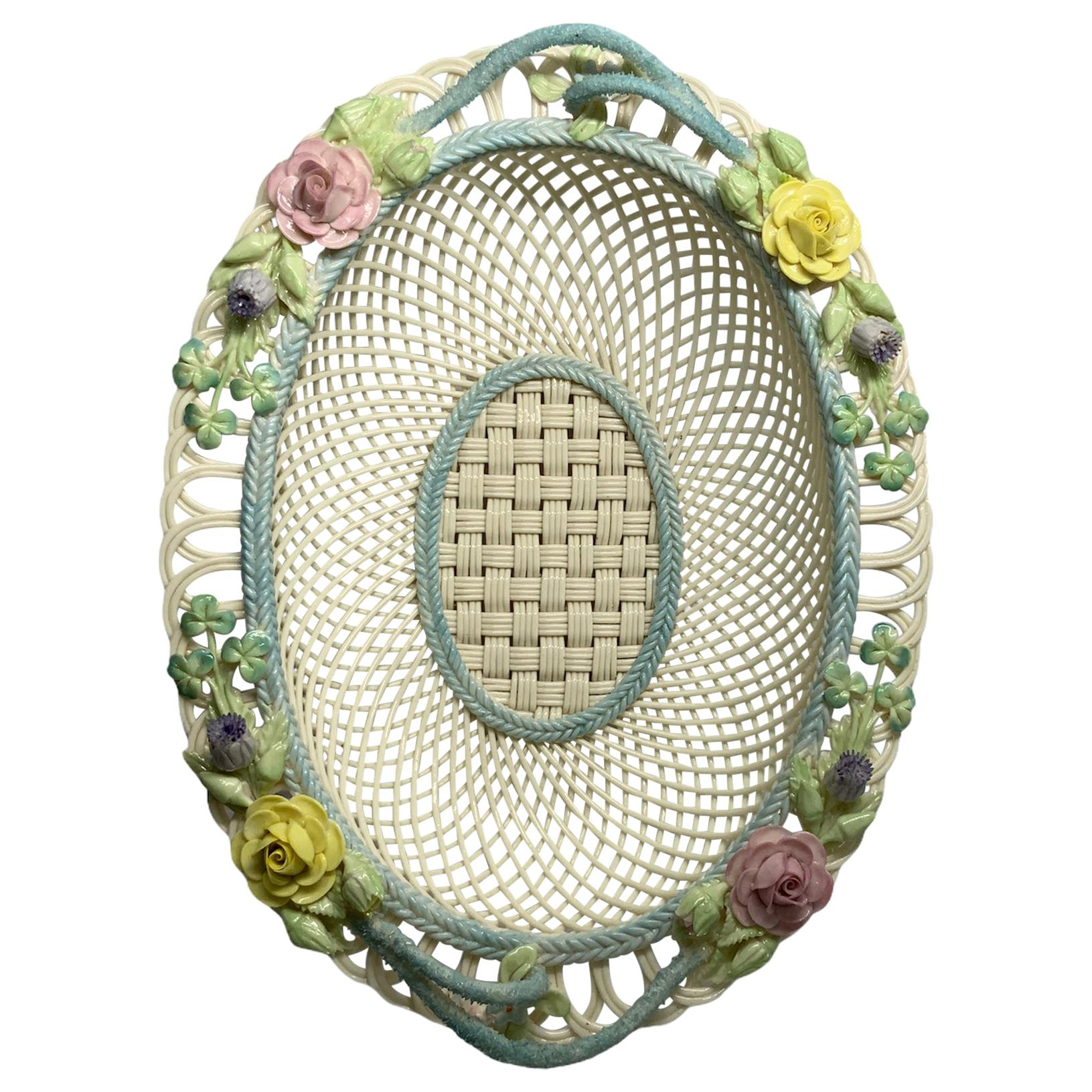 Large Belleek Porcelain Woven Basket