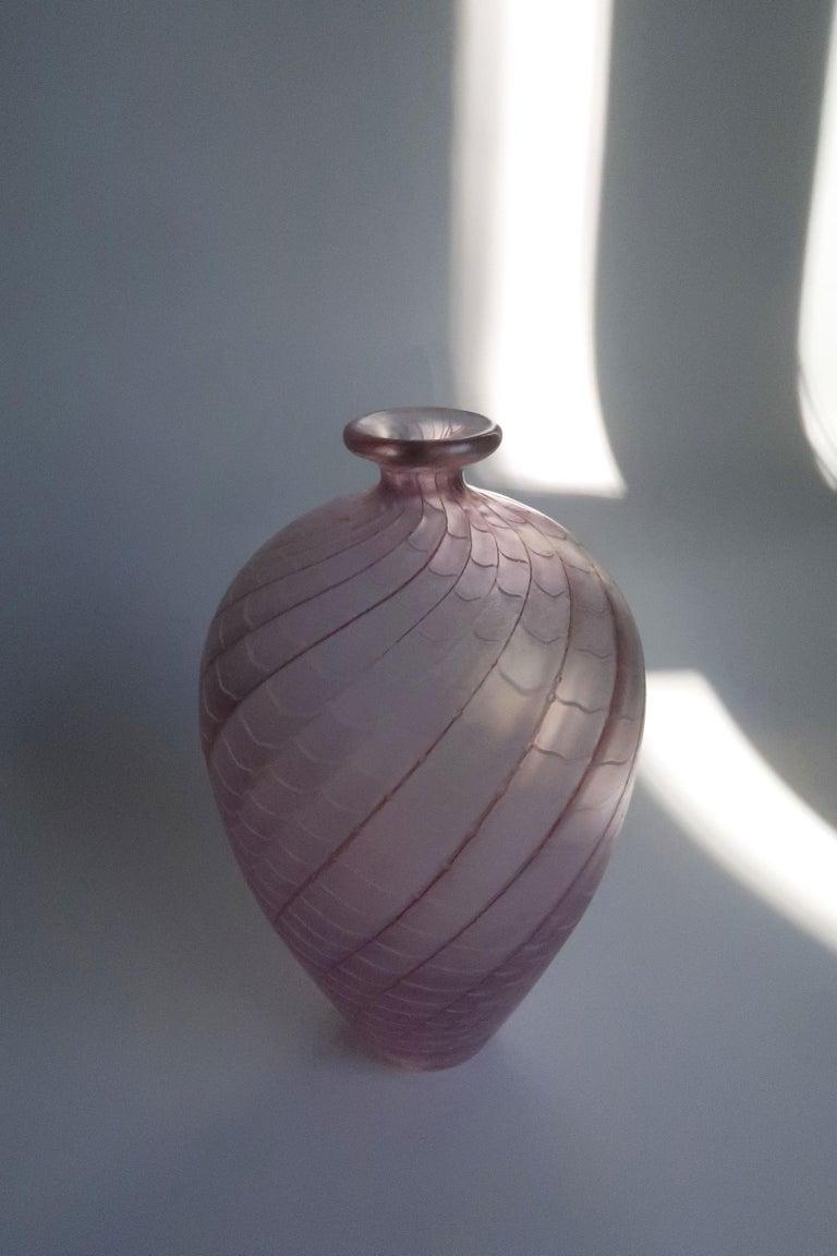 Large Bertil Vallien for Kosta Boda Rose, Ruby, White Art Glass Vase, 1970s For Sale 7
