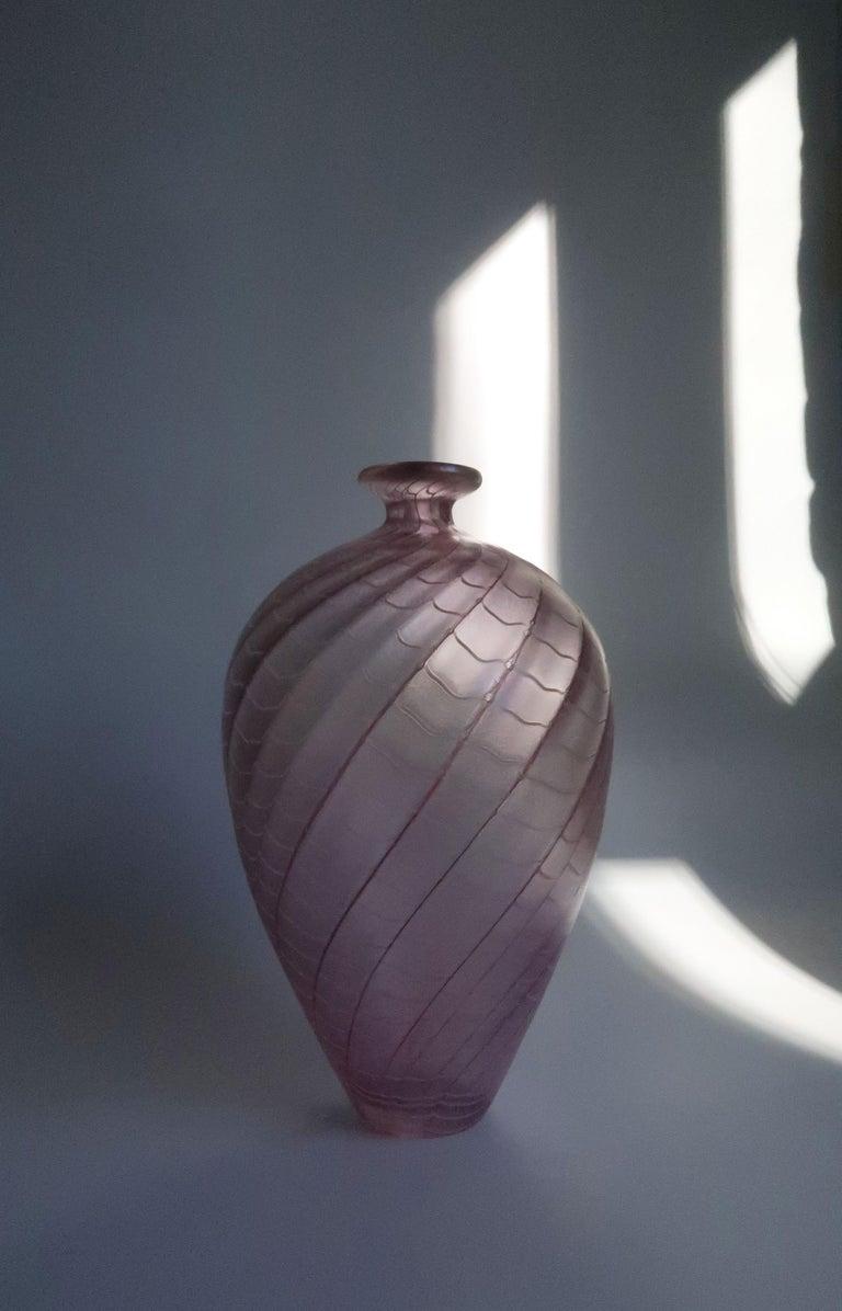 Mid-Century Modern Large Bertil Vallien for Kosta Boda Rose, Ruby, White Art Glass Vase, 1970s For Sale