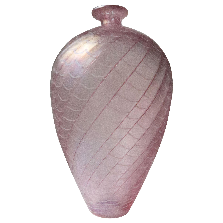 Large Bertil Vallien for Kosta Boda Rose, Ruby, White Art Glass Vase, 1970s