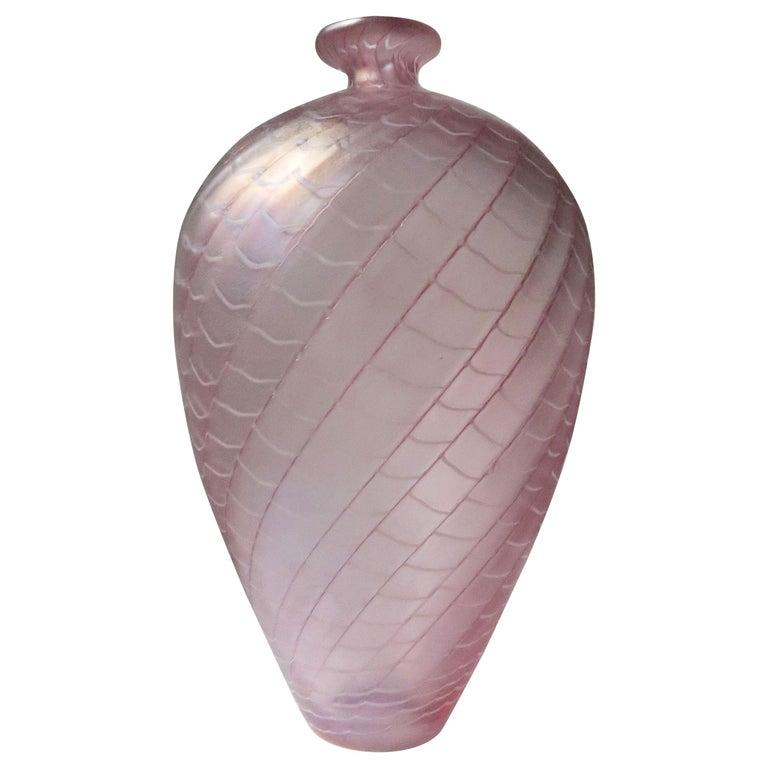 Large Bertil Vallien for Kosta Boda Rose, Ruby, White Art Glass Vase, 1970s For Sale