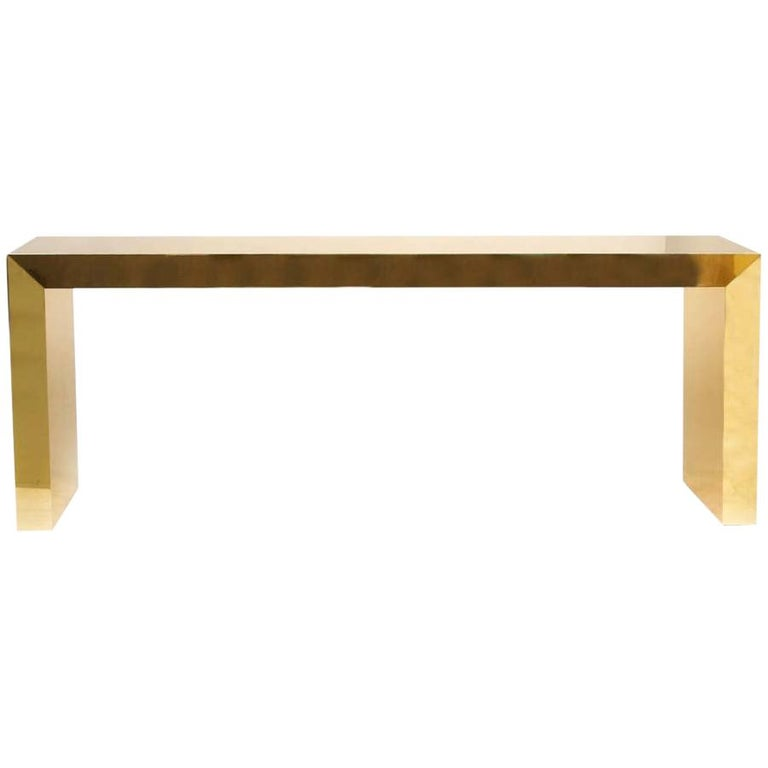 Large Bespoke Gold Color Brass Metal Console Table by Railis Kotlevs Iceland For Sale