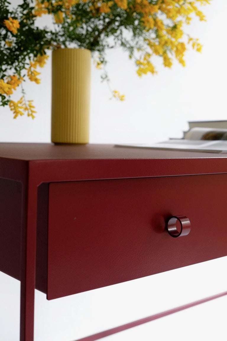 Welded Large Bespoke Study Desk with Linoleum Top and Drawer, Customizable For Sale