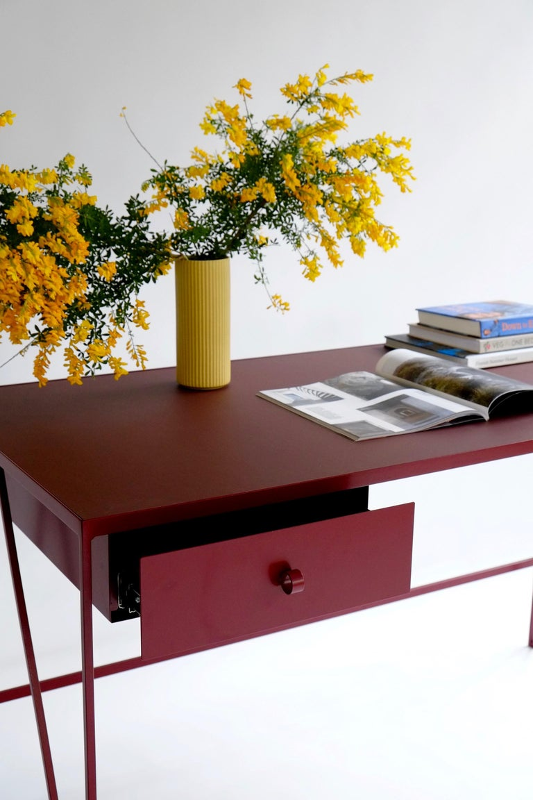Large Bespoke Study Desk with Linoleum Top and Drawer, Customizable In New Condition For Sale In Leicester, GB
