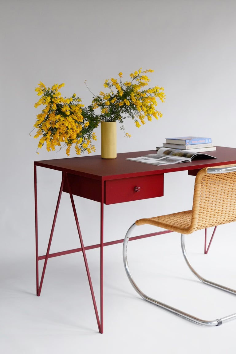 Contemporary Large Bespoke Study Desk with Linoleum Top and Drawer, Customizable For Sale