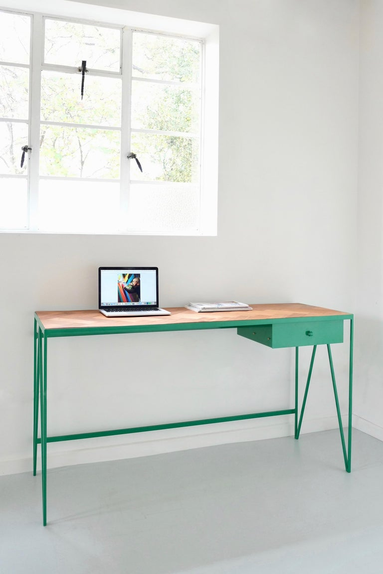 Steel Large Bespoke Study Desk with Linoleum Top and Drawer, Customizable For Sale