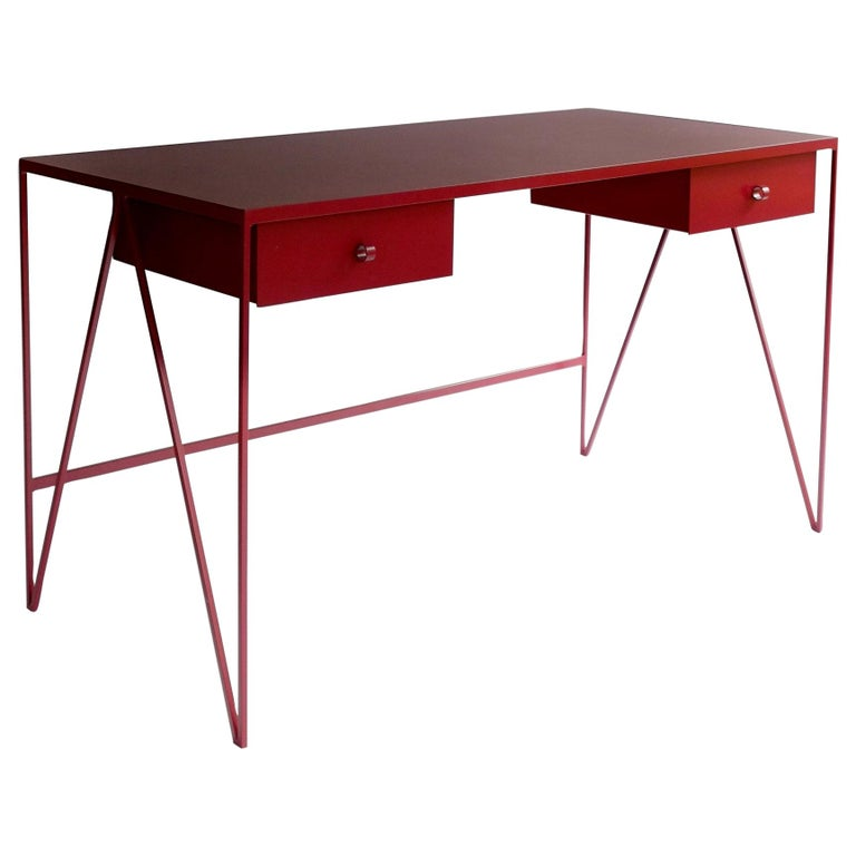 Large Bespoke Study Desk with Linoleum Top and Drawer, Customizable For Sale