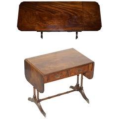 Large Bevan Funnell Extending Flamed Hardwood Side End Lamp Card Table Lion Feet