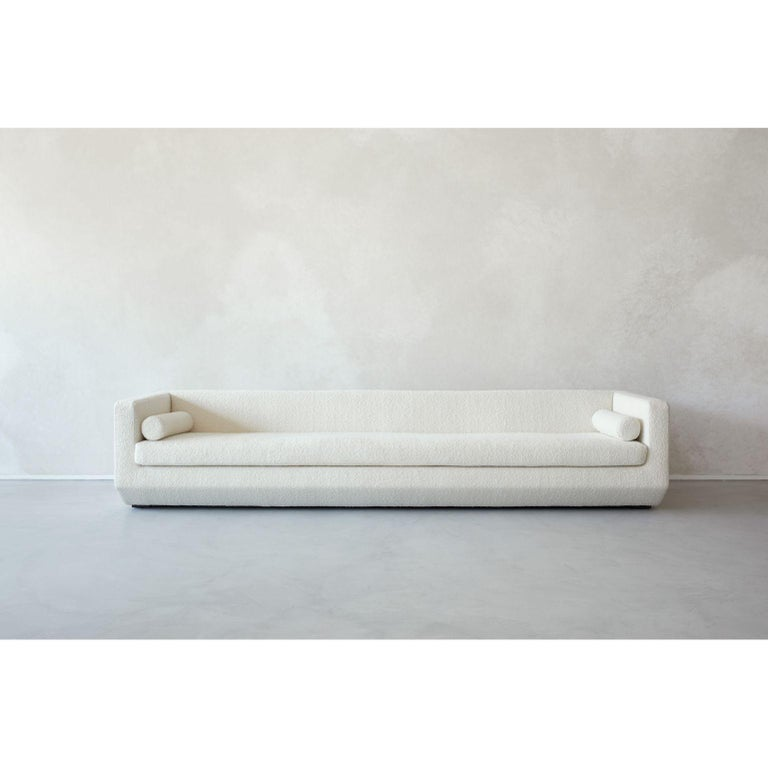 Large Beveled - Couch by Marc Dibeh 2021 Materials: Fabric Dimensions: W 300 x H 63 x D 80 cm   Also Available: Large  Beirut based designer Marc Dibeh narrates his cultural environment through compelling interiors and products. His studio's