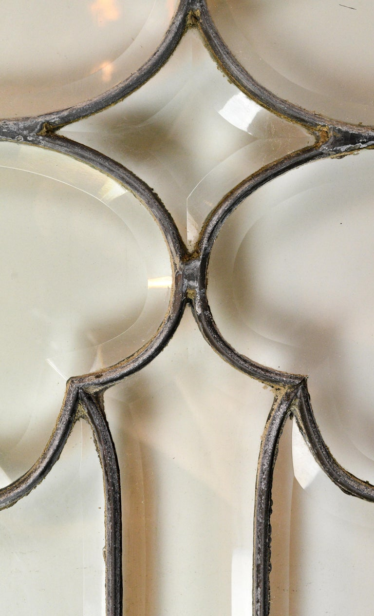 American Large Beveled Glass Window For Sale