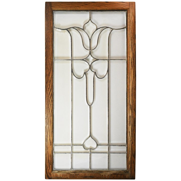 Large Beveled Glass Window For Sale