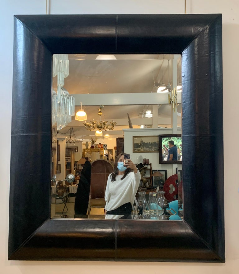 Late 20th Century Large Beveled Mirror with Custom Brown Leather Frame For Sale
