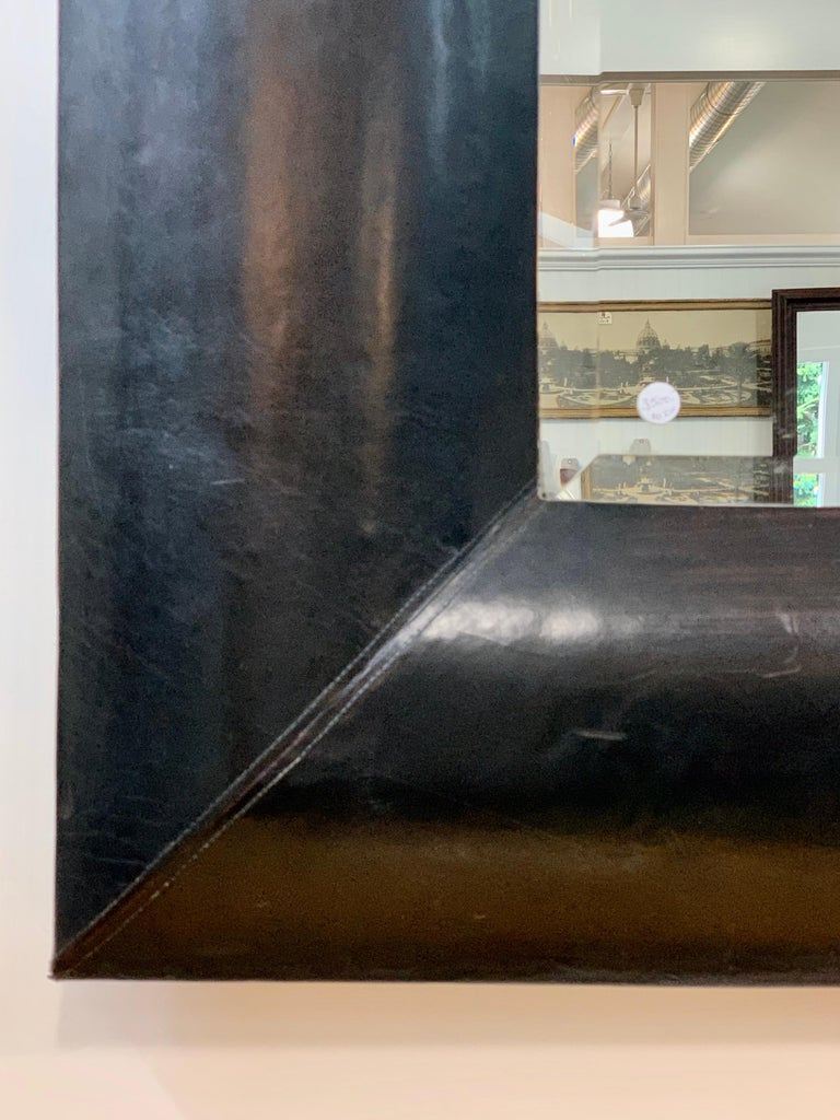Large Beveled Mirror with Custom Brown Leather Frame For Sale 1