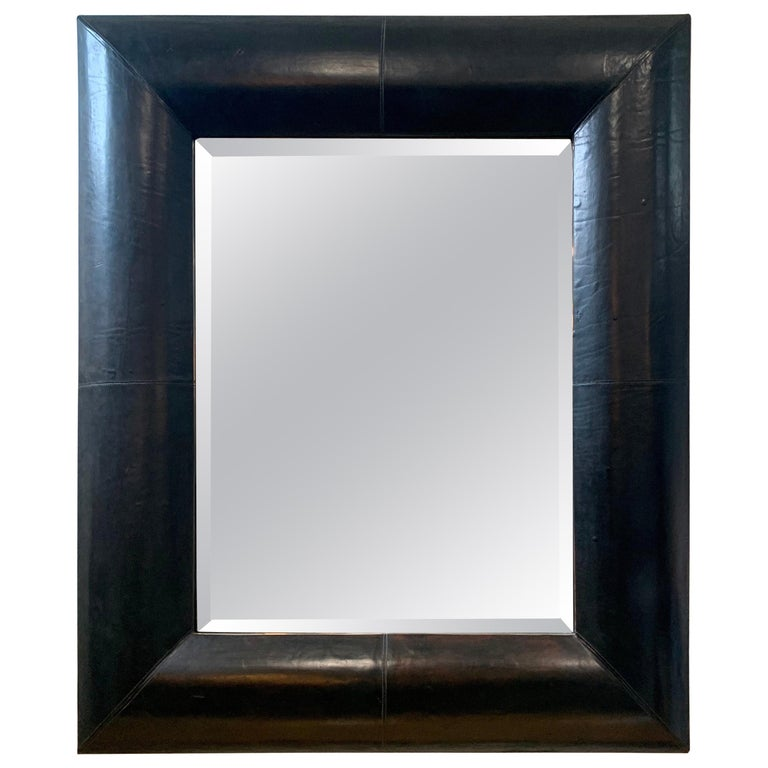 Large Beveled Mirror with Custom Brown Leather Frame For Sale