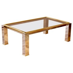 Large Bicolor Brass and Chrome Smoked Glass Coffee Table 1970s Springer Style