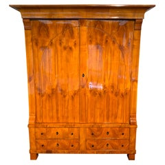 Large Biedermeier Armoire, Cherry Veneer, Rhineland, Germany, circa 1820