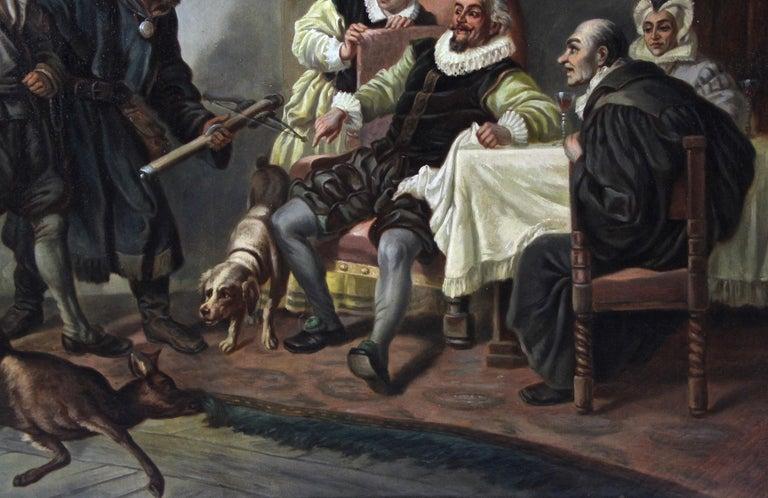 Large Biedermeier Oil Painting by Joseph Haier, Austria, 1840 For Sale 3