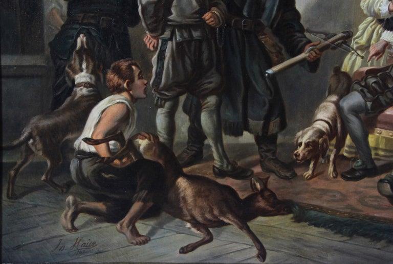 Large Biedermeier Oil Painting by Joseph Haier, Austria, 1840 For Sale 4