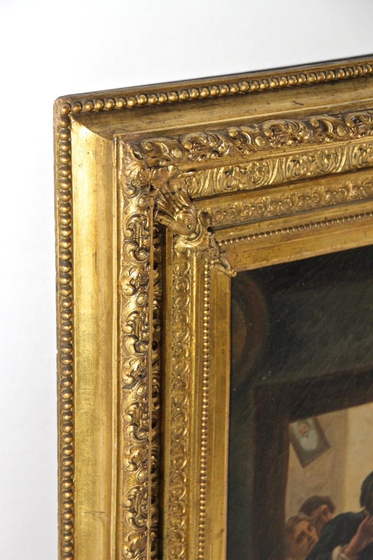 Large Biedermeier Oil Painting by Joseph Haier, Austria, 1840 For Sale 6