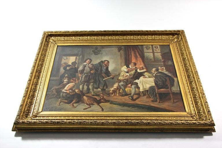 Large Biedermeier Oil Painting by Joseph Haier, Austria, 1840 For Sale 7