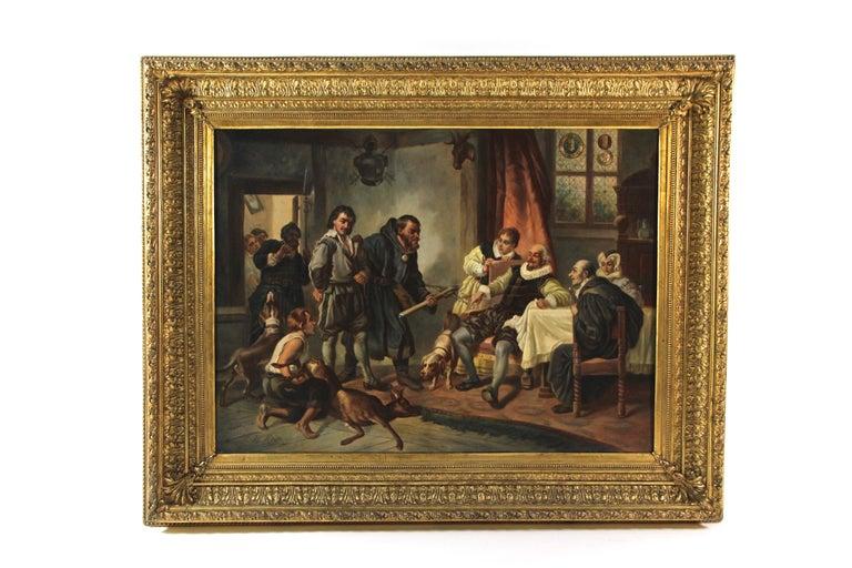Large Biedermeier Oil Painting by Joseph Haier, Austria, 1840 For Sale 9