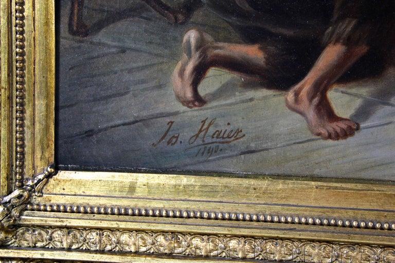 Austrian Large Biedermeier Oil Painting by Joseph Haier, Austria, 1840 For Sale