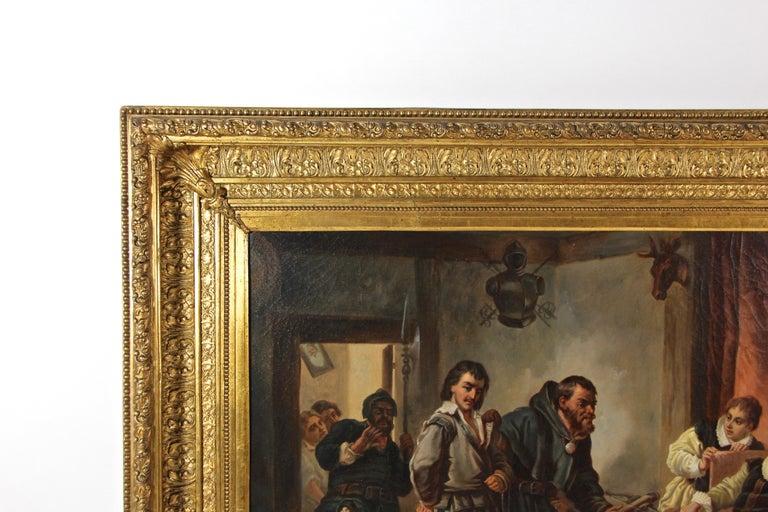 Gilt Large Biedermeier Oil Painting by Joseph Haier, Austria, 1840 For Sale
