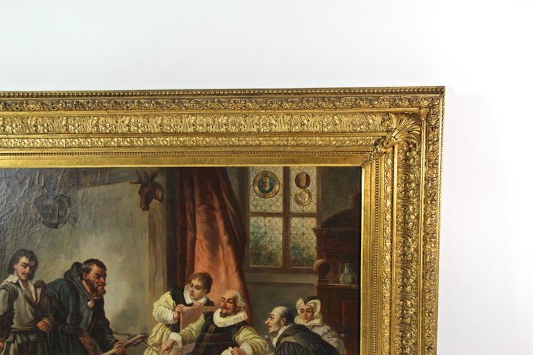 Large Biedermeier Oil Painting by Joseph Haier, Austria, 1840 In Good Condition For Sale In Linz , AT