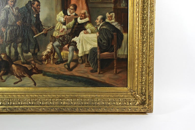 19th Century Large Biedermeier Oil Painting by Joseph Haier, Austria, 1840 For Sale