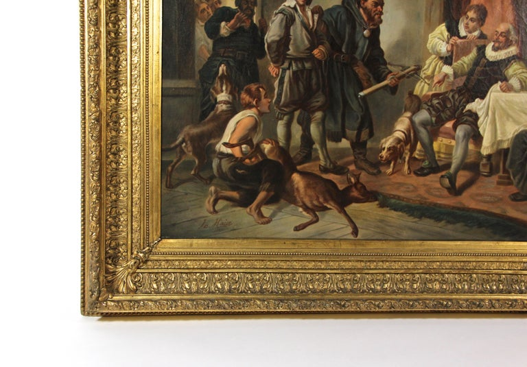 Stucco Large Biedermeier Oil Painting by Joseph Haier, Austria, 1840 For Sale