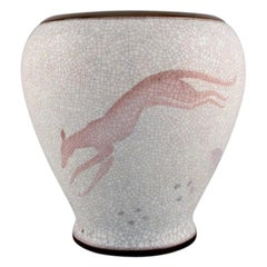 Large Bing and Grøndahl Vase in Crackled Porcelain with Leaping Animal, 1920s