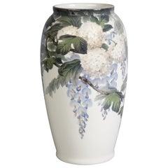 Large Bing and Grondahl Floral Porcelain Vase, circa 1900