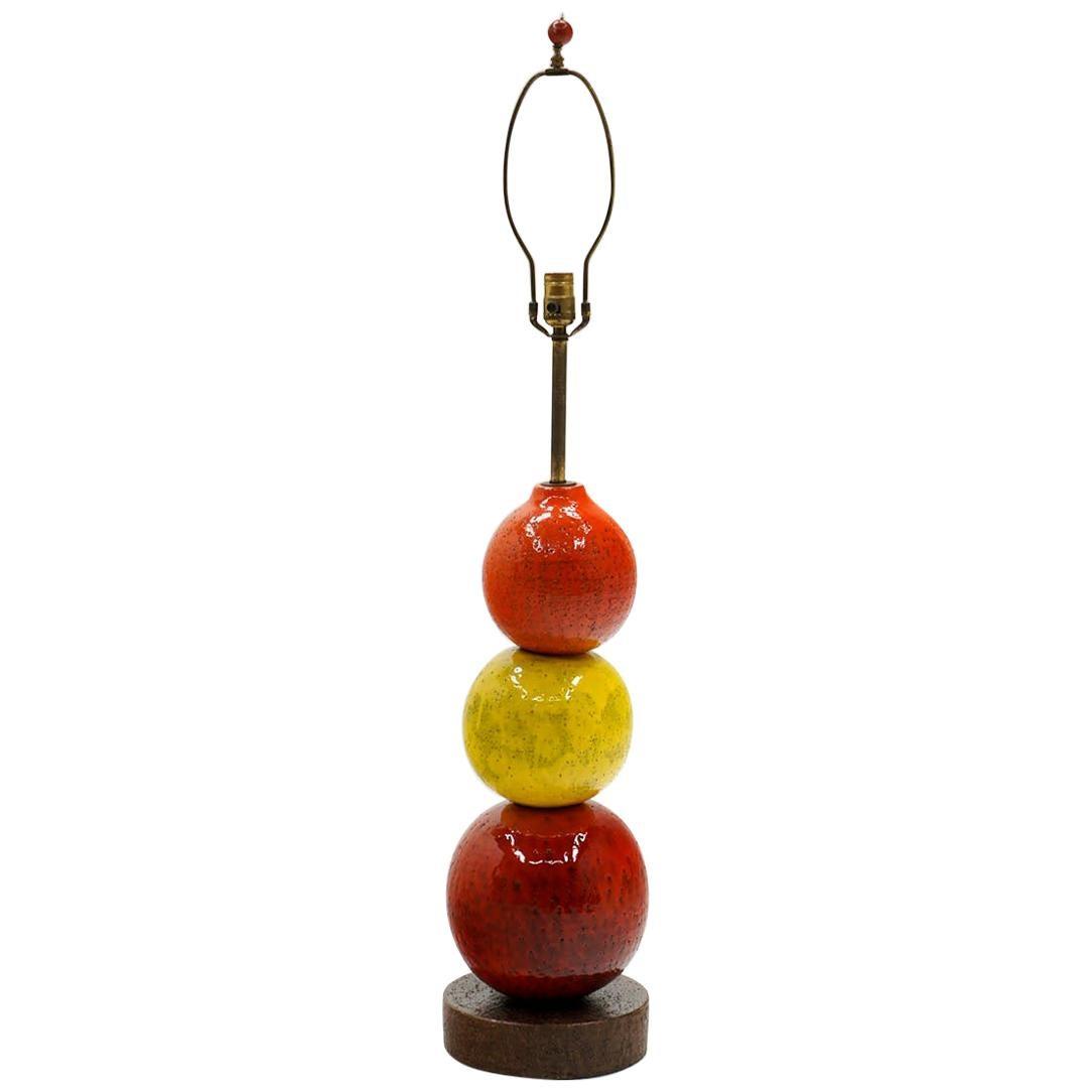 Large Bitossi Ceramic Ball Table Lamp, Red, Yellow, Orange, Italy, 1960s