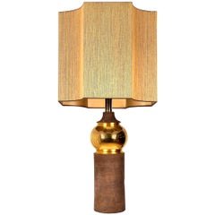 Large Bitossi Lamp for Bergboms, with Custom Made Shade by Rene Houben
